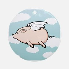 When Pigs Fly Vector Round Ornament