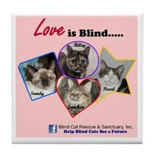 Love is Blind in Pink Tile Coaster