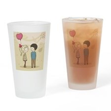 boy and girl with balloon Drinking Glass