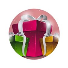 """Shiny gift boxes in pink, green and ye 3.5"""" Button"""