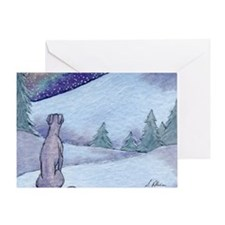 Greyhound whippet silent night Greeting Card