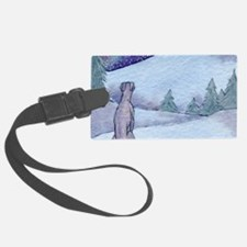Greyhound whippet silent night Luggage Tag