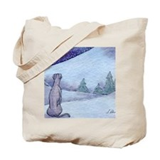 Greyhound whippet silent night Tote Bag