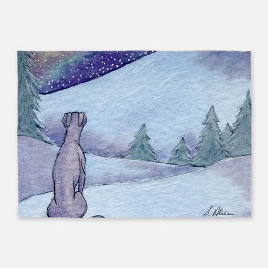 Greyhound whippet silent night 5'x7'Area Rug