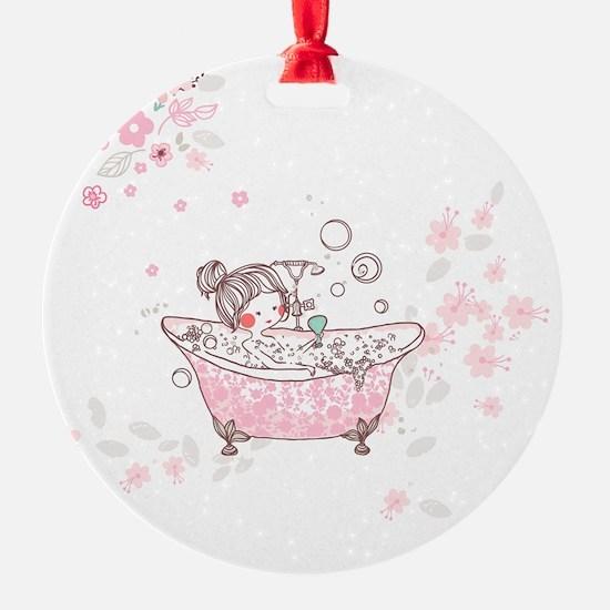 girl taking bath Ornament