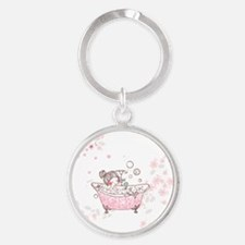 girl taking bath Round Keychain