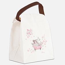 girl taking bath Canvas Lunch Bag