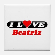 I Love Beatriz Tile Coaster