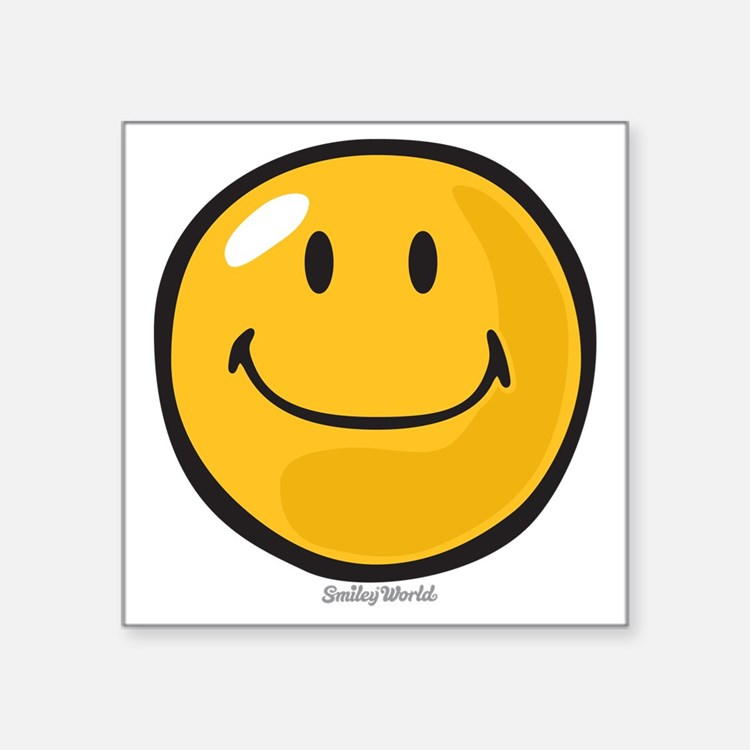 "smug smiley Square Sticker 3"" x 3"""