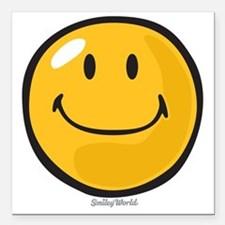 "smug smiley Square Car Magnet 3"" x 3"""