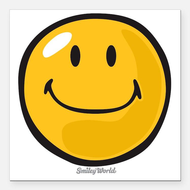 """smug smiley Square Car Magnet 3"""" x 3"""""""
