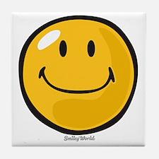 smug smiley Tile Coaster