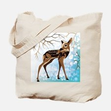 Young Deer In A Winter Forest, Vector Ill Tote Bag