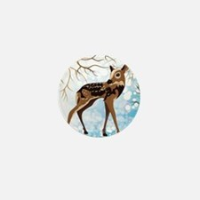 Young Deer In A Winter Forest, Vector  Mini Button