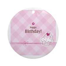 Birthday card with copy space Round Ornament