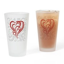 Decorative heart Valentine Drinking Glass