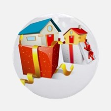 illustration of house in gift pack  Round Ornament