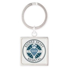 sacred heart logo blue Square Keychain