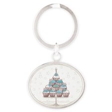 winter cupcakes Oval Keychain