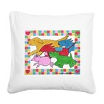 Herd o pups.png Square Canvas Pillow