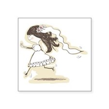 "wedding - bride runs to the Square Sticker 3"" x 3"""