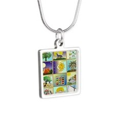 12 Tribes Of Israel Silver Square Necklace