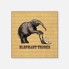"Vintage circus elephant doi Square Sticker 3"" x 3"""