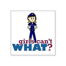 """Police Woman Square Sticker 3"""" x 3"""""""