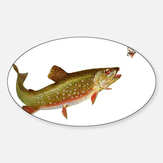 Vintage trout fishing illustration Sticker (Oval)