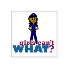 """Woman Police Officer Square Sticker 3"""" x 3"""""""