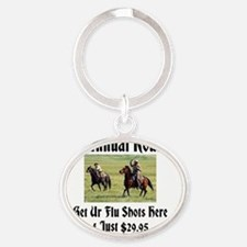The Annual Roundup Get Ur Flu Shots  Oval Keychain