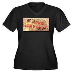 Flat Nebraska Women's Plus Size V-Neck Dark T-Shir