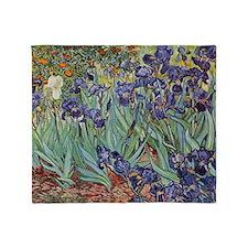 Irises by Van Gogh impressionist pai Throw Blanket