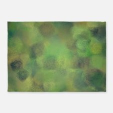Subdued green and yellow palette 5'x7'Area Rug