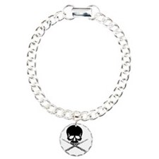 Skull with Flutes Charm Bracelet, One Charm