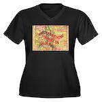 Flat Colorado Women's Plus Size V-Neck Dark T-Shir