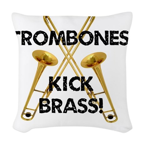 Trombones Kick Brass Woven Throw Pillow