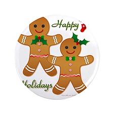 "Gingerbread Man - Boy Girl 3.5"" Button"