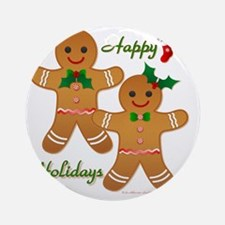 Gingerbread Man - Boy Girl Round Ornament