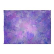Pink, purple and lavender canvas 5'x7'Area Rug