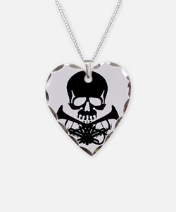 Skull with Trumpets Necklace Heart Charm