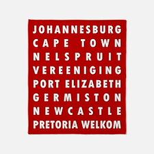 Red SA Cities Throw Blanket
