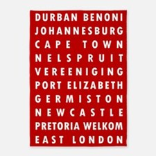 Red SA Cities 5'x7'Area Rug