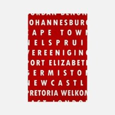 Red SA Cities Rectangle Magnet