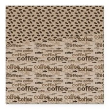 """Coffee and Beans Square Car Magnet 3"""" x 3"""""""