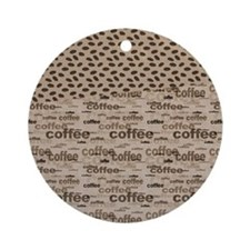 Coffee and Beans Round Ornament