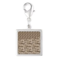 Coffee and Beans Silver Square Charm
