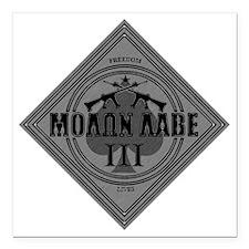 """Molon Labe - Diamond Spa Square Car Magnet 3"""" x 3"""""""