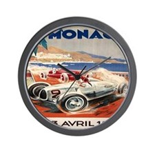 1936 Monte Carlo Grand Prix Poster Wall Clock