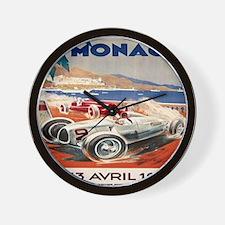 1936 Monte Carlo Grand Prix Poster Wall Clock